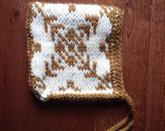 Gold and Ivory Fair Isle Baby Bonnet