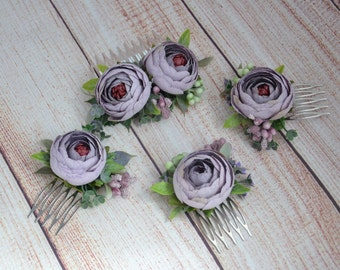 Dusty purple hair comb Flower hair comb Bridal hair comb Wedding hair comb Bridesmaid flower comb Gift for women Rustic wedding Flower girl