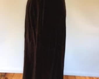 Vintage velvet skirt by St Michael chocolate brown velvet maxi skirt size medium