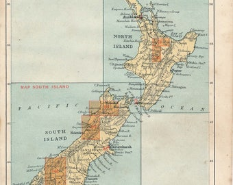 1893 New Zealand Antique Map