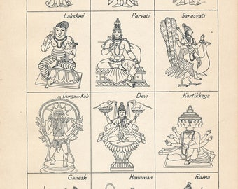 1911 Hindu Gods Antique Print