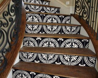 "Stair Riser Stickers - Removable Stair Riser Tile Decals - Barolo Pack of 6 in Black - Peel & Stick Stair Riser Deco Strips - 48"" long"