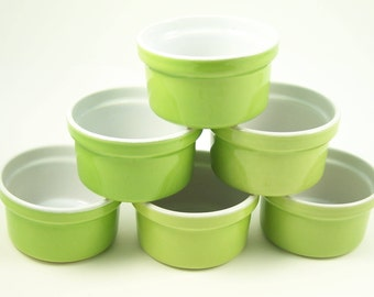 Set of 6 green ceramic ramekins  inside white EMILE HENRY France | 3.5"