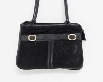 70s Black Suede Shoulder Bag  | 1970s Vintage Handbag |  Vintage Tote Bag | Black Leather Purse