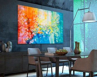 Abstract painting Large painting XXL Turquoise Blue Green Orange moderne original painting, Landscape. Dimensions: 76.7 x 51 inches