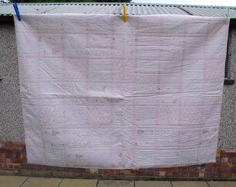 "pink baby girls quilt, cot duvet, crib quilt, baby blanket, nursery bedding, quilted blanket, 37"" x 48"""