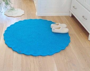 Torquois Rug Round Crochet Wool Rug - Nursery rug baby room big blue mat - Hand crochet turquois bedside rug