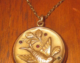 Antique Gold Tone Locket, Swallow, Bird Locket, Swallow Locket, Antique Bird Locket, Two Photo Locket, Antique Two Photo Locket, 1800s hi