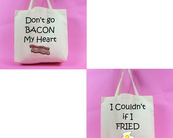Don't Go Bacon My Heart, I Couldn't if I Fried Large Tote Bag. Elton John and Kikki Dee