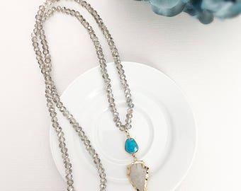 AMANDA| Arrowhead Necklace, Beaded Necklace, Long Beaded Necklace, Arrow Necklace, Raw Arrowhead Stone, Boho Necklace, Bead Necklace, Long