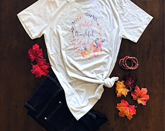 Thankful and Blessed Shirt - Fall Shirt for Women - Thanksgiving Shirt - Blessed - Graphic Tees - Pumpkin Patch Shirt - Adult Tees - Autumn