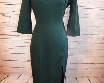 house of bianchi -80s velvet dress -  retro clothing - 80s dress - 80s party dress - 1980s dress - vintage dress - green dress vintage