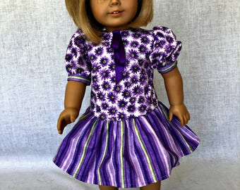 purple doll dress - 18 inch doll dress - 18 inch doll clothes  -  fits 18 inch dolls such as the American Girl, Our Generation, My Life As.