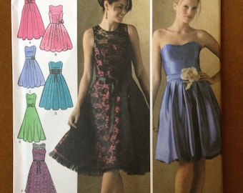 Simplicity 4070 - Sleeveless or Strapless Party Dress with Flared or Bubble Skirt - Size 6 8 10 12 14