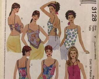 McCalls 3128 - Easy to Sew Lined Summer Tops with Open Back and Shaped Hem Options - Size XS S M