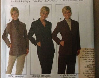 Simplicity 7906 Below Hip Length Jacket in Single and Double Breasted Styles - Size 6 8 10