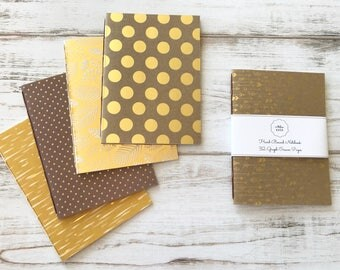 Gold Softcover Notebook Hand Bound Travelers Notebook Travel Diary Writing Notebook 32 Graph Cream Pages *** Sold Individually ***