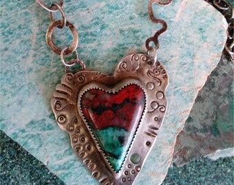 Heart Necklace   -  Heart Pendant Necklace  -  Gem Stone  Heart  Necklace  -Sterling Silver Gemstone Heart Pendant Necklace
