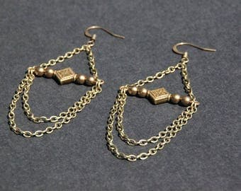 Chains earrings, round bronze beads, diamond shaped, long jewelry, boho, hippy accessory, tribal fusion style