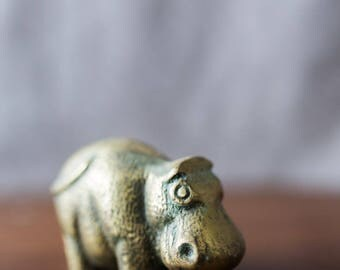 Vintage Brass Hippo Figure Paper Weight