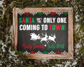 Christmas Pregnancy Announcement Sign, Christmas Baby Announcement, Pregnancy Announcement, Christmas Pregnancy, Digital Download, 8x10, PDF