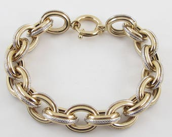 "14k Yellow And White Gold Rolo Link Toggle clasp Bracelet 7 1/4"" 18.8 grams"