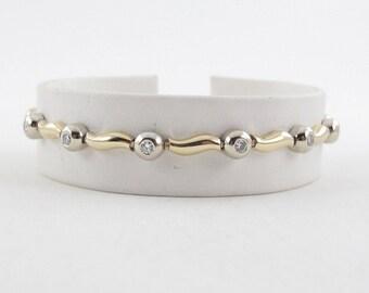 "14K Yellow White Gold Wave Design Diamond Tennis Bracelet 7 1/4"" 0.75 carat"