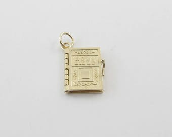 14k Yellow Gold Holy Bible Charm Pendant - Bible With Prayer Inside