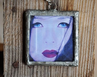 Necklace - Handmade Soldered Square Pendant Necklace w/Geisha Image (Bohemian, Hippie, Gypsy)