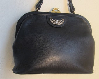 Vintage Saber-Black Grained Cowhide Leather Framed Deep-Satchel Handbag-Silver & Brass Metal Accentsts