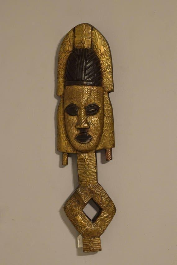 African Mask Bakota Reliquary Gabon Africa Brass Handmade Relic Guardian Ancestor Sacred Tribal Relic Ancestor Mask