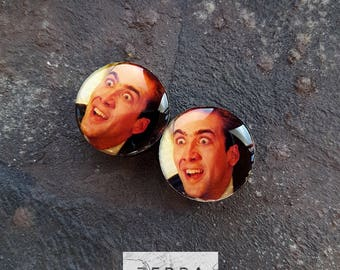 Pair Nicolas Cage plugs image ear wooden tunnels 4,5,6,8,10,12,14,16,18,25-60mm;6g,4g,2g,0g,00g;1/4,5/16,3/8,1/2,9/16,5/8,3/4,7/8,1 1/4,1""