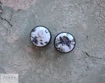"""Pair Gauges Vintage Rose image wooden plugs 4,5,6,8,10,11,12,14,16,18,19,22,24-60mm;6g,4g,2g,0g,00g;1/4,5/16,3/8,1/2,9/16,5/8,3/4,7/8,1 1/4"""""""