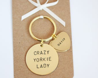 Crazy Yorkie Lady Hand stamped Keyring, Personalised with dogs name(s)