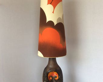 1960s West German Fat Lava Floor Lamp With Original Shade By Walter  Gerhards West German Pottery