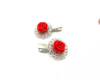 2 hair clips has hair silver fancy red flower