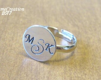 Stamped Ring - Monogram Ring - Silver Disc Ring - Hand Stamped Ring - Gift for Her - Stamped Monogram Ring - Handstamped Jewelry