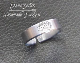 Lotus Ring Band, Yoga Jewelry Ring, Lotus Silver Ring, Yoga Wedding Gift, Lotus Ring Sterling Silver, Lotus Blossom Ring