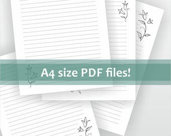 Digital stationery. Download for A4 size lined letter writing paper. Printable pdf file. Black and white floral design. Lily flower.