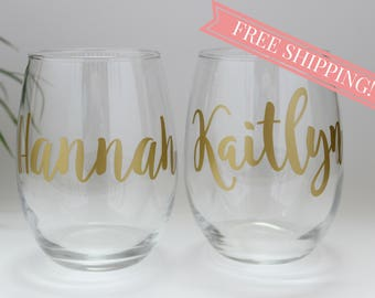 Set of 8 Personalized Wine Glasses // FLASH SALE FREE Shipping //Bridesmaids Gift // Monogrammed Stemless Wine Glass