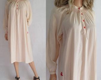 Cream cotton night tunic dress, night gown, midi length, long sleeves, french vintage, hippie boho dress, large