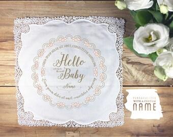 Baby handkerchief heirloom keepsake new baby gift, baby handkerchief, new baby gift, baby shower gift - custom text & name where shown