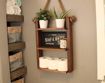 Hanging Bathroom Shelf   Rustic Shelf   Bathroom Ladder Shelf  Wood And  Rope   Farmhouse