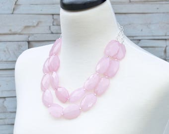 Gift for Bridesmaids - Beaded Necklace - Statement Necklace - Pink Double Strand Bib Necklace - Wedding Jewelry - Necklaces for Bridal Party