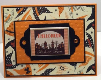 Handmade Halloween Card - Happy Halloween Card - Embellished Trick or Treat Card -  Card with Witch Hats in Orange and Black