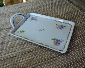 Porcelain Ceramic Vanity Tray // Floral and Gold Detail // Perfume Cosmetic Tray