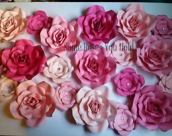 Pink Paper Flowers Backdrop,20pc Paper Flowers Set,Paper Flowers Wall Decor,Baby Shower Decoration,Paper Roses,Party,Wedding,Nursery Wall