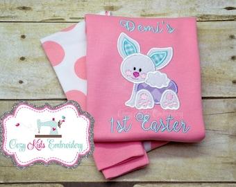 First Easter pajamas, bunny pajamas, girls pajamas, boy pajamas, girls pj, spring pj, spring pajama, pj, girls pajamas, girls pj, appliqué