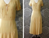 vintage AS-IS 1930s dress <> 1930s pale yellow silk dress <> 30s silk peasant look dress <> sold in as-is condition