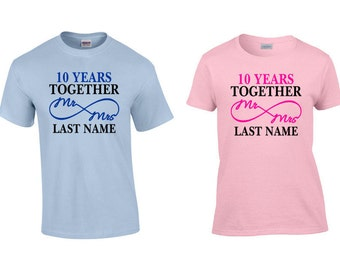 10 Year Anniversary Shirts, 10th Anniversary Gift, 10th Anniversary Shirts, 10 Year Anniversary Gift, Tin Wedding Gift, Tin Wedding Shirts